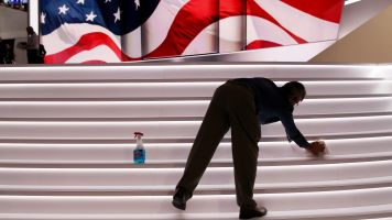 A worker cleans at the RNC.
