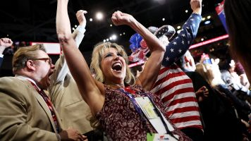 A woman cheers at the RNC.
