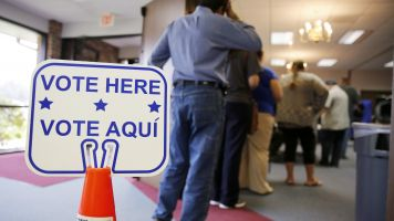 A person waits to vote in Texas.