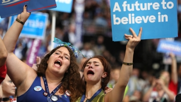 Bernie Sanders supporters cry at the DNC.