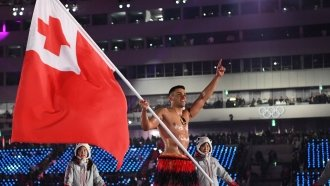 Tonga Flag-Bearer Bares All Again At Frigid Olympics Opening Ceremony