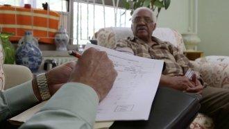 Man takes health exam at home