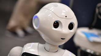 A robot is on display at a trade fair.