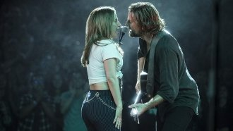 Lady Gaga and Bradley Cooper singing
