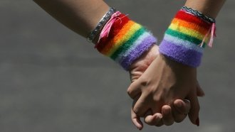 A lesbian couple hold hands during a Gay Pride rally