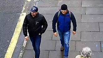 A surveillance image of the two Russian men accused of poisoning Sergei Skripal