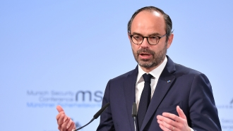 French Prime Minister Edouard Philippe delivers a speech in 2018