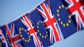 British Union Jack and European Union flags