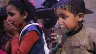 Children affected by a suspected chemical weapons attack in Syria.