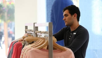 A clothing store employee