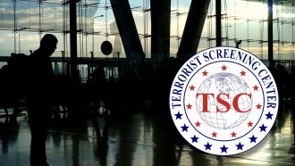 Photo of busy airport with Terrorist Screening Center logo