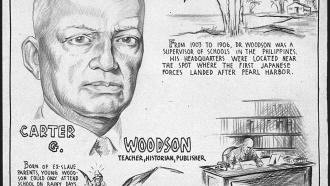 Sketch of historian Carter G. Woodson
