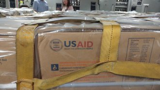 Crates of U.S. foreign assistance