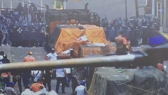 Trucks of humanitarian aid are blocked inside Venezuela