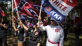 The Ku Klux Klan protests on July 8, 2017 in Charlottesville, Virginia.
