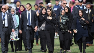 New Zealand Prime Minister Jacinda Ardern and others at Hagley Park Friday