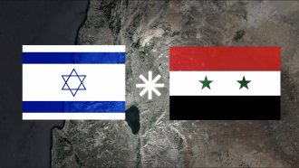 A map of the Golan Heights, with Israeli and Syrian flags overlaid