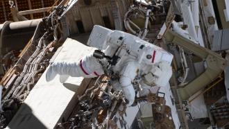 Astronaut Anne McClain performs a spacewalk on March 22