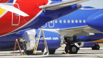 A Southwest Airlines Boeing 737 MAX 8 aircraft