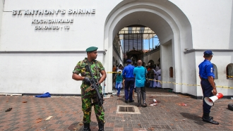 Sri Lankan security forces near St. Anthony's Shrine