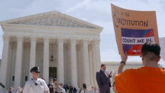 Protesters outside of the Supreme Court