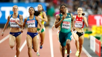 Caster Semenya of South Africa competes