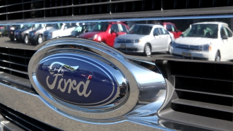A Ford logo on a vehicle