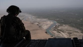 U.S. military member in a plane.