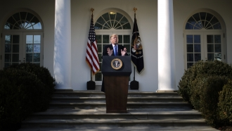 President Donald Trump speaks on border security during a Rose Garden event at the White House February 15, 2019