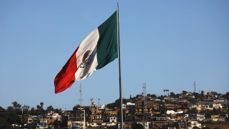 Mexican flag near the U.S.-Mexico border
