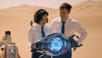 "Tessa Thompson and Chris Hemsworth in ""Men In Black: International"""