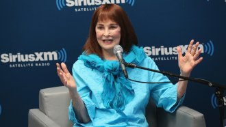 Gloria Vanderbilt speaks on a radio show in New York City in 2016.