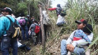 Honduran migrants in Guatemala waiting to cross into Mexico.