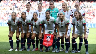 The USA players pose for a team photo prior to the 2019 FIFA Women's World Cup France group F match between USA and Chile.