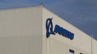 A Boeing sign