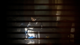 Turkish forensic police work in a room inside the Saudi Arabian consulate general residence