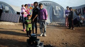 Kurdish children from Syria at a refugee camp in Turkey.