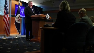 U.S. Secretary of State Mike Pompeo speaks during a media briefing at the State Department June 10, 2019 in Washington, DC.
