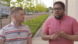 Cody LaGrow talking to Obie McNair about HIV in Jackson, Mississippi
