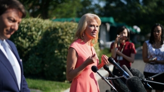 Counselor to the President Kellyanne Conway speaks with reporters outside the White House.