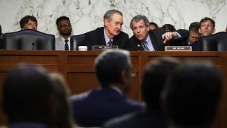 Senators Mike Crapo and Sherrod Brown question Calibra Head David Marcus on Facebook's new cryptocurrency