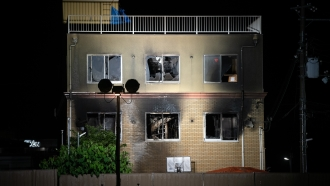 The Kyoto Animation studio building is pictured after being set ablaze by an arsonist on July 18, 2019 in Kyoto, Japan.