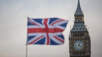 Big Ben behind the Union Jack