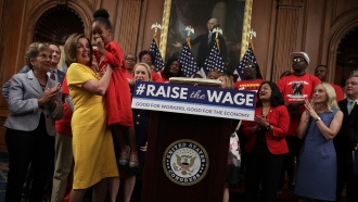 Rep. Nancy Pelosi at a Raise the Wage Act event