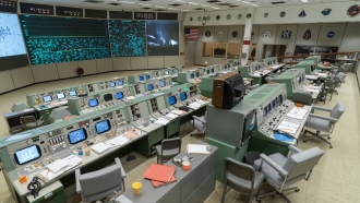 The restored Apollo Mission Control Room at the Johnson Space Center