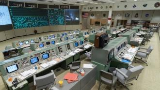 The restored Apollo Mission Control Room at the Johnson Space Center