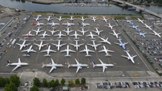 Boeing 737 MAX airplanes are stored on a parking lot