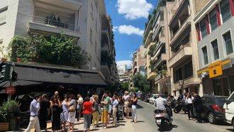 Aftermath of earthquake in Athens, Greece