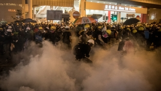 Police fire tear gas on protesters in Hong Kong Sunday