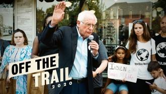 Democratic Presidential Candidate Sen. Bernie Sanders speaks to a crowd in Windsor, Canada.
